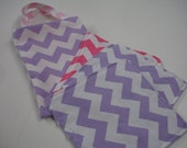 Lavender and Hot Pink Chevron Tote Bag and Quick Wipe Handkercheif Set READY TO SHIP On Sale