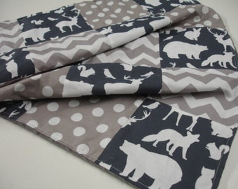 Woodland Animals Party Navy Gray Chevron Dots Minky Blanket You Choose Size and Minky Color  MADE TO ORDER No Batting