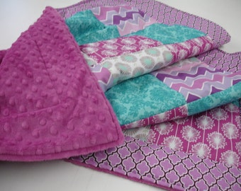 Teal Lavender Gray Modern Floral and Damask Minky Comforter Blanket You Choose Size and Minky Color MADE TO ORDER