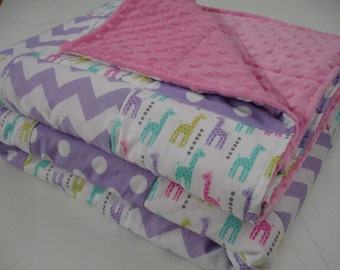 Little Giraffes Chevron and Dots in Lavender Patchwork Minky Blanket You Choose Size MADE TO ORDER No Batting