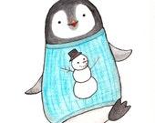 Nursery Decor Penguin Illustration Print Black & White Pastel Blue Baby Penguin in Sweater Nursery Art Watercolor Painting Print Wall Decor