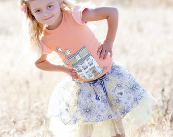 SAMPLE SALE -  Lily T-Shirt in Barefoot in the Park - Size 12 months... with a charming screenprint and ruffle overlay sleeve!