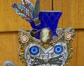 Steampunk Cat In a Blue top Hat Original Mosaic Art