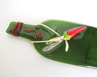 Wine Bottle Cheese Plate Chili Pepper Flattened Bottle Smashed Dish Recycled Green Eco Art Guy Coworker Chef Gift Dawn of Creation
