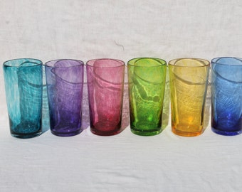 Set of Six Hand Blown Glass Tumblers or Drinking Glasses in Transparent Jewel Tone Colors