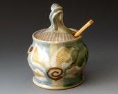 Handmade Sugar Bowl with Flower Motif, Honey Jar, Ceramic Lidded Pot, Sugar Bowls
