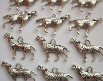 8 Howling Wolf Charms silver tone metal