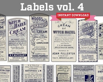 Volume 4 - Antique Apothecary Labels Instant Download - Medicine Labels Collage Sheet, including Witch Hazel, Cold Creams and Syrups Labels