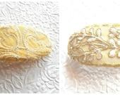 Gold white barrettes,  embroidered barrette, hair barrettes, fabric barrette, oval barrette, hair accessory, fashion accessory