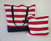 4th of July - Beach Bag - Large Beach Bag -  Wet Bag - Striped Bag - Bikini Wet Bag - Interior Pocket