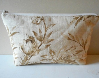 cosmetic zip bag natural botanical linen toiletry pouch