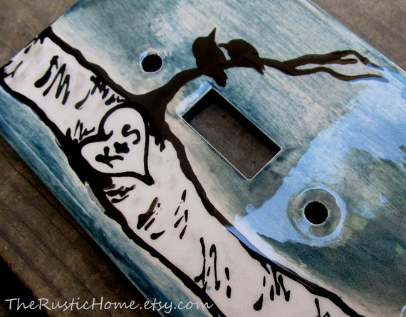 Birch tree love birds switchplate cover lightswitch cover custom pottery blue and black rustic home decor trees raven blackbird anniversary