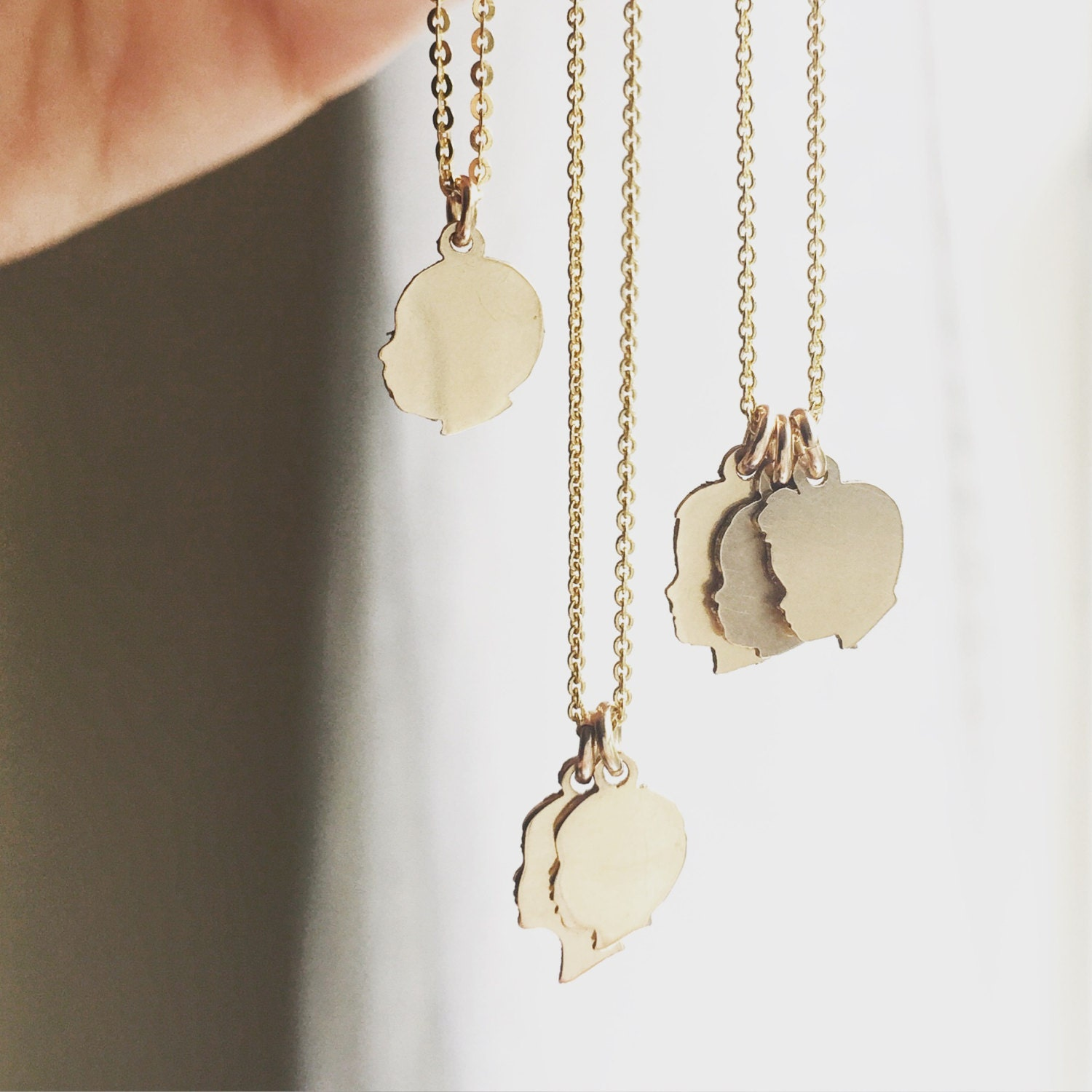 Custom Silhouette Charms Tiny Charm Necklace 14K Gold Filled