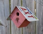 Hanging wren House - Rustic Birdhouse - Primitive Birdhouse - License Plates Birdhouse