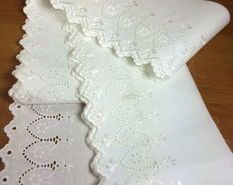 "Eyelet Lace Trim / White Cotton / 6 yards and 5"" Wide"
