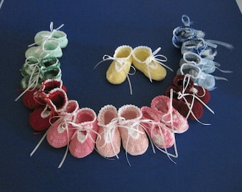 Crochet baby dressy shoes newborn to 3 months choose color