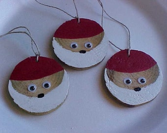 GOOGLEY EYED SANTA~~Made with Recycled Scrap Wood~~Repurposed, Recycled Wooden Santa Faces~~Humorous~~Tree Decorations~To-From Tags~Adorable