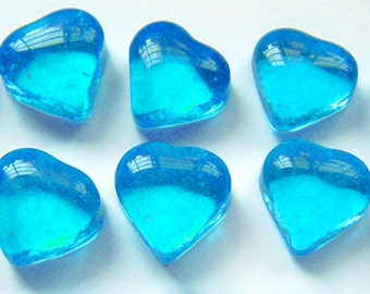 10 Caribbean Blue Glass Hearts Shapes Gems