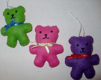 Bright Colored Teddy Bear Miniature Ornament