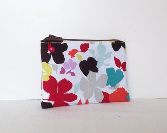 Little Zipper Pouch - Flower Shower in White