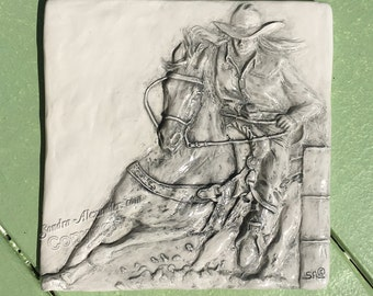 Barrel Racer woman and Horse Ceramic 3-d Tile by Alexander Art LLC sculpture Portrait In Stock ready to ship!