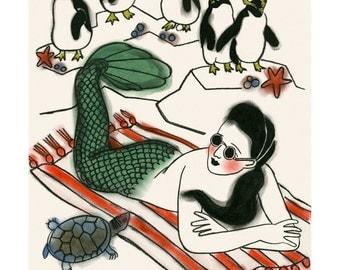 """Mermaid Art - Mermaid Print  - A Day at the Beach  -   8.3"""" X 11.7"""" (A4) mermaids print - 4 for 3 SALE"""