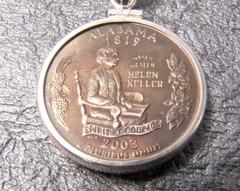 State Coin Necklace Alabama year 2003 with Sterling Silver Coin Bezel to display the art of your State quarter