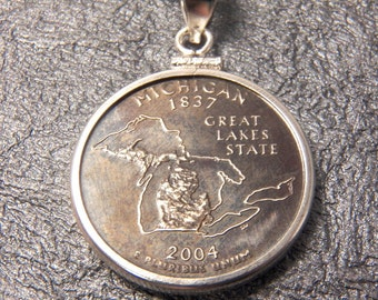 State Coin Necklace Michigan year 2004 with Sterling Silver Coin Bezel to display the art of your State quarter