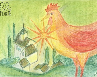 Proceeds Benefit Animal Rescue - Retablo Folk Art - Morning Sun, Sunrise with the Chickens, Small village, Winding Road