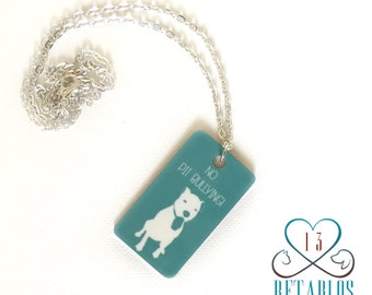 Retablo Graphic Art Necklace- Proceeds Benefit Animal Rescue, Bully Breeds, Turquoise Dog Tag Necklace, Pit Bull Awareness,