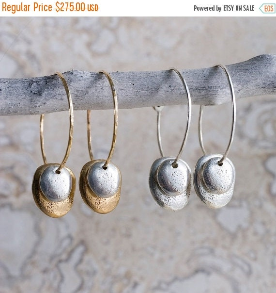 Valentines Day Sale Gold, Silver & Bronze River Rock Hoops | Nature Inspired