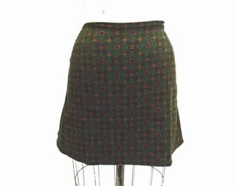 SALE Olive green Retro Print Cord Skirt