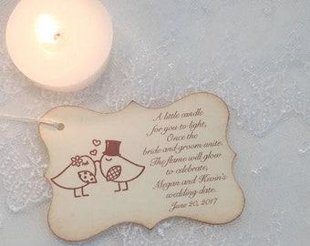Wedding Candle Favor Tags Love Birds