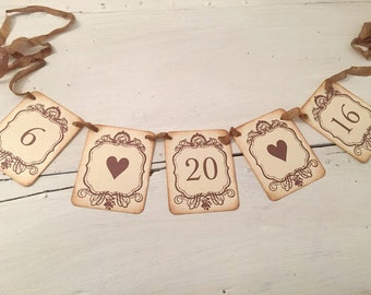 Save the Date Banner Wedding Date Banner  Engagement Photo Prop Date Garland Hearts