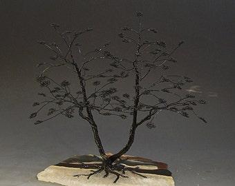 Bonsai Aluminum Wire Tree Art Sculpture On Imperial Fancy Rock Slab - 2223  - FREE SHIPPING