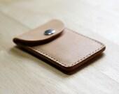 Snap Top Pocket Wallet // Handstitched Vegetable Tanned Leather