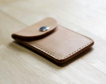 Snap Top Pocket Wallet // Handstitched Vegetable Tanned Leather