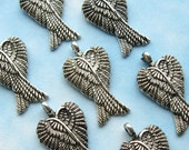 Antique Silver Wing Pendants - Set of 10 - Antique Silver Angel Charms - 29mm (SC0085)