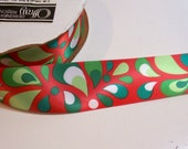 Red Ribbon, Single-Faced Satin Ribbon 1 1/2 inches wide x 10 yards, Christmas Ribbon, Offray Splash Ribbon