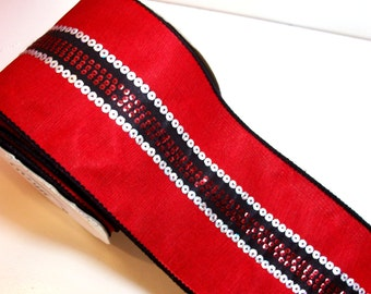 Red and Black Sequin Ribbon, Wired Fabric Ribbon 4 inches wide x 10 yards, Full Bolt of Offray Disco Ribbon