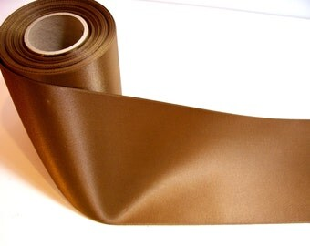 Wide Brown Ribbon, Caramel Brown Double-Faced Satin Ribbon 4 inches wide x 3 yards, SECOND QUALITY FLAWED