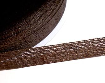 Brown Ribbon, Offray Luminosity Topaz Brown Metallic Ribbon 5/8 inch wide x 10 yards