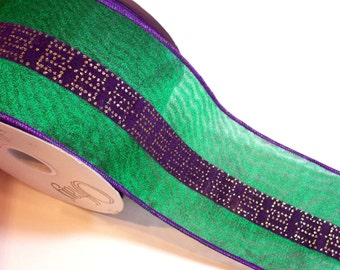 Green Ribbon, Offray Green Shimmer Wired Fabric Ribbon 4 inches wide x 10 yards, Christmas Ribbon, Green and Purple Ribbon