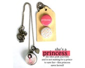 PRINCESS Locket Necklace, Gift for PreTeen, Teen Girl, Princess Archetype, Magnetic, Interchangeable, 3 Necklaces in 1, Polarity, Solocosmo