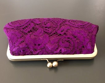 Sale - Eggplant Lace Clutch