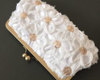 White Flower Sequin Clutch