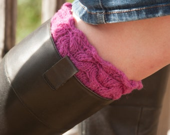 Bright Purple Stacked Cables Boot Cuffs