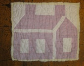 Old School House Quilt Piece | Vintage Quilt Piece | Antique Quilt Piece | Primitive Quilt Piece | Old Quilt Square | LISTING IS FOR 1