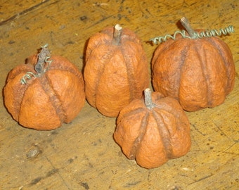 Primitive Handmade Paper Mache Pumpkins Set Of 4