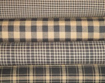 Kettle Grove Black Homespun Fabric Fat Quarter Bundle Of 4